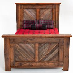Barnwood Bed Herringbone Design - Item # BR04044 - Available in Queen & King - Made From Salvaged Barnwood