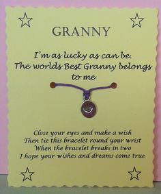 Granny Gran Wish Bracelet Keepsake Gift Wish Bracelets, Cord Bracelets, Handmade Jewellery, Jewellery Making, Granny Gifts, Little Gifts, Silver Charms, Mother Day Gifts, Friendship Bracelets