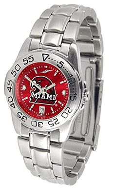 Miami of Ohio Redhawks Ladies Stainless Steel Dress Watch * Details can be found by clicking on the image.(It is Amazon affiliate link) #likesforlikes