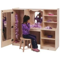 One-piece unit has full length mirror behind door, two clothes hooks in closet, oval mirror in center of vanity and storage areas on right. See stools Dimensions: X X 14 Full Length Mirror Behind Door, Bedroom Vanity Set, Closet Mirror, Dress Up Storage, Discount School Supply, Clothes Hooks, Vanity Set With Mirror, Oval Mirror, Kids Bedroom Furniture
