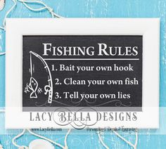 www.lacybella.com  Fishing Rules decal vinyl lettering hobby room decor sticker discount