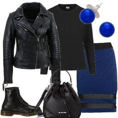Ho scelto una gonna a tubino blu abbinata ad un maglioncino in lana semplice ed un chiodo in ecopelle. Per le scarpe un paio di anfibi in pelle ed una borsa a secchiello. Per concludere un paio di orecchini con perla blu.