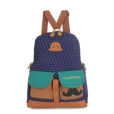 46.18$  Watch here - http://viwzx.justgood.pw/vig/item.php?t=g7r5l35872 - Women Dot Mustache Backpack Multifunction Canvas Shoulder Bags Crossbody Bags