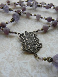 Catholic Rosary - First Communion Rosary in Purple Gemstone and Antique Bronze