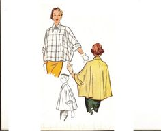 1950s Cape Pattern Coatee Bust 36 38 McCall 8390 by CherryCorners, $25.00