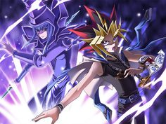 Yami Yugi with his Deck leader The Dark Magician ready to duel!!!
