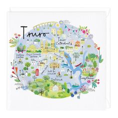 This Truro map card is perfect for someone who loves Cornwall or is visiting for the first time. A great card for any occasion, it's blank for your own message Plymouth Map, Truro Cathedral, Cornwall Map, Doddle Art, Map Painting, World Globes, Ipad Art, Location Map, England