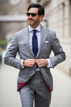 Gentleman's Fashion & Accessories Super heather grey glen plaid with bordeaux accents from the Winter Alazar collection at Daniel George Men Fashion Show, Suit Fashion, Mens Fashion, Fashion Trends, Flannel Suit, Plaid Suit, Dapper Gentleman, Gentleman Style, Smoking
