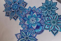For the first time I painted my mandalas. #blue #mandala #zentangle #colors