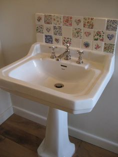 Welbeck patchwork tiles with Bathstore traditional style sink.