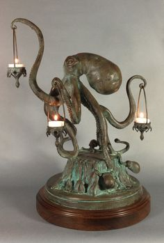"Walktopus ~ sculptor Scott Musgrove; 20"" tall, bronze lamp."