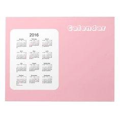 2016 Baby Pink Calendar by Janz Notepad
