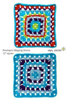 "Penelope's Skipping Stones 12"" Square Free #crochet pattern by SimplyCollectibleCrochet.com Penelopes newest fascination is crocheted housewares and Penelopes Skipping Stones 12 inch Square crochet pattern was written for a pillow collection she is star"
