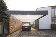 Decorating Modern Carport: modern garage & shed by architect Armin Hägele Carport Garage, Pergola Carport, Garage House, House Front, Car Garage, Garage Kits, Iron Pergola, Small Garage, Wooden Pergola