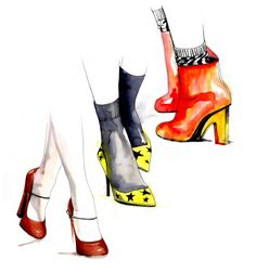 Fashion illustration | drawing | water colour | shoes | print  | colourful zapatos