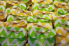 green and yellow gift bags.