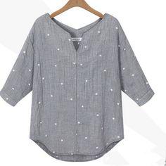 Plus Size Zanzea Hot Fashion Blusas Summer Style Women Casual V-Neck 3/4 Sleeve Tops Loose Star Printed Blouse Shirts
