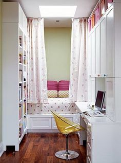Add a bunk bed. Love how they utilized the space in such a small room but it doesn't feel cramped or cluttered at all!