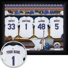 Show your love for the 2015 National League Champion Mets with this personalized locker room sign! Made in the USA and officially licensed by the MLB, it comes framed, mounted and ready to hang in premium black wood. It's the perfect gift for that special Mets fan in your life and looks great in a man cave, game room, or office. Best of all, it can be easily customized! Just choose your jersey number along with the name, message, or date of your choosing. We'll handle the rest. #WorldSeries
