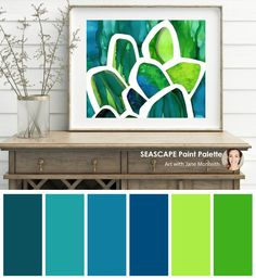 Colour palette from Seascape alcohol ink painting by Jane Monteith. Shop today and get FREE shipping!