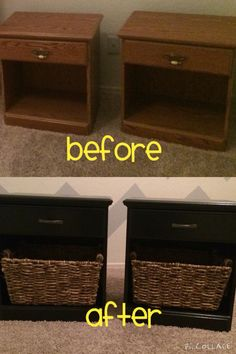DYI night stands Sanded them down by hand. (Pretty easy)  Gave 2-3 coats of behr premium paint and primer in one. And finished with a water based Polycrylic protective finish. Total time was 2 days.