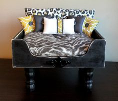 dog bed, cat bed, pet bed, dog, cat, pet, bed, luxury, shabby chic, lounger, free shipping, MODERN ANIMAL. $900.00, via Etsy.