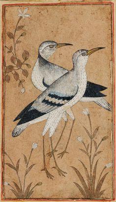 A Rare Concertina-form Album of Miniatures and Calligraphy (Muraqqa'), Persia, century Mughal Paintings, Indian Paintings, Iranian Art, Primitive Folk Art, Bird Illustration, Orient, Ancient Art, Bird Art, Islamic Art