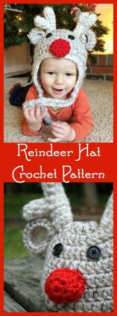 Crochet Baby Hats Reindeer Earflap Beanie for Kids - Free Crochet Pattern - Christmas Hat - Christmas Hats for Newborn to Adult - Free Crochet Patterns - striped stocking caps, Santa Hats, Rudolph the Red-Nosed Reindeer, Bumble, and more. Crochet Christmas Hats, Crochet Kids Hats, Christmas Crochet Patterns, Holiday Crochet, Crochet Beanie, Diy Crochet, Crochet Crafts, Crochet Projects, Earflap Beanie