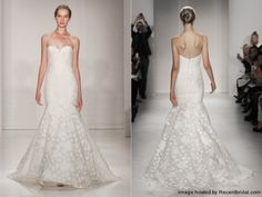 Amsale Fall 2015 silk floral jacquard mermaid wedding dress with corset bodice and a sweetheart neckline. Style Aida
