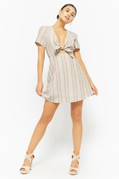 Product Name:Striped Tie-Front Dress, Category:dress, Price:48