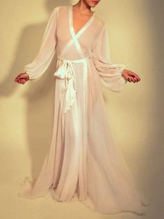 Jenny Packham Elegant Silk Chiffon Long Robe