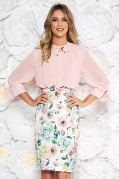 Lightpink elegant daily midi pencil dress with 3/4 sleeves with floral prints, tented cut, floral prints, 3/4 sleeves, side zip fastening, tied with bow