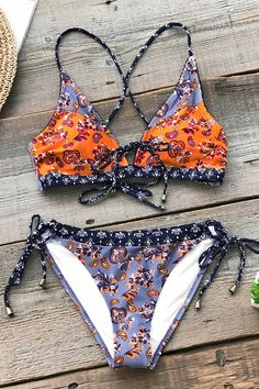 f0aeea59ce0 Our Summer Paisley lace-up bikini set will have you ready for your next  beach