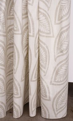 Block printed leaf fabric in pretty sand & cream combo. Available by the yard at www.tonicliving.com (or click on the image to buy swatch or yardage or simply more info). #tonicliving #leaffabric #fabric