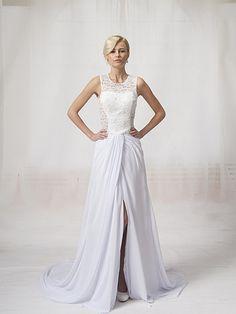 Glamorous Sheath Lace Bodice See-through Back Chiffon Skirt with Front Slit Chapel Train Long White Evening Dresses 2012