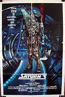 Saturn 3 , starring Farrah Fawcett, Kirk Douglas, Harvey Keitel, Ed Bishop. Two lovers stationed at a remote base in the asteroid fields of Saturn are intruded upon by a retentive. Kirk Douglas, 1980's Movies, Movies Online, Fiction Movies, Horror Movies, Space Movies, 3 Online, Pulp Fiction, Elmer Bernstein