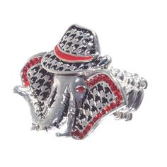 Houndstooth elephant stretchable ring. Perfect for the Alabama Roll Tide fan.