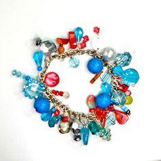 Bracelet chain cluster Southwest aqua coral crystals faux pearl 7 1/4 Handmade #Pat2 #chainclustercharm