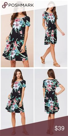 PREORDER Black Floral pocket dress! Beautiful contrast swing dress floral pattern soft jersey knit pocket dress Dresses