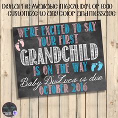 Grandparent's First Grandchild Announcement, New Grandchild, Future Grandkid, Baby On The Way Sign, Pregnancy, Baby Feet, Pink, Blue Digital, Chalkboard, DIY Annoucements by SquishyDesignsbyMe