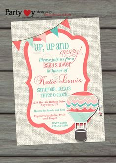 Hot Air Balloon Baby Shower Invitation, Coral, Teal, Blue, Pink, Burlap