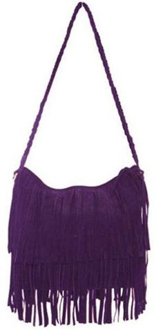 THG Fringe Purple Tassel Faux Suede Messenger Cross Body Tote Shoulder Handbags List Price:$28.99 Sale Price: $14.99 & FREE Shipping