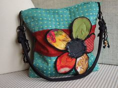 TURQUOISE & RED Shabby Chic Purse, Aqua Blue Slouch Purse, Floral Applique Bag