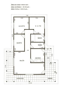 PLANTAS DE CASAS E MODELOS PROJETOS DE PLANTA BAIXA Indian House Plans, My House Plans, Small House Plans, House Floor Plans, Home Design Plans, Plan Design, 3 Bedroom Home Floor Plans, Civil Engineering Design, Framing Construction