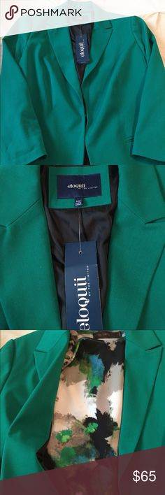 NWT 14W Eloquii green blazer🌷🌷🌷 New Emerald Green Eloquii Blazer paired w/ Limited (Size Large) Top to show contrast .... Amazing look for a fraction of the cost. Top is included w/ full price offers💐💐💐 Eloquii Jackets & Coats Blazers