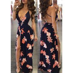 Dark Blue Maxi Floral Dress