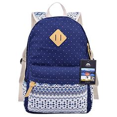Vbiger Pastoral Canvas School Bag for Girls Floral Printed Backpack Blue 2      This 64e0e42ae9