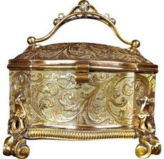 Rare Art Noveau Antique Gilt Filigree Jewellery Box Erhard & Sohne C1910 Key Periods & Styles