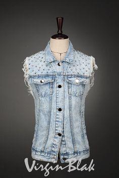Top :: Vests :: 5QG Vintage Studded Denim Vest -