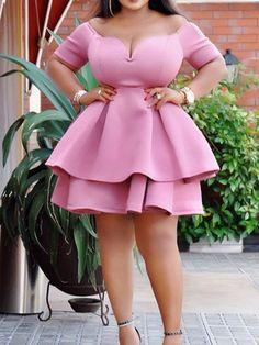 Ericdress Plus Size Ruffles Patchwork Above Knee Plain Dress at Diyanu Short African Dresses, Latest African Fashion Dresses, African Print Fashion, Plus Size Dresses, Plus Size Outfits, Ladies Day Dresses, Ladies Fashion Dresses, Lace Dress Styles, Looks Plus Size